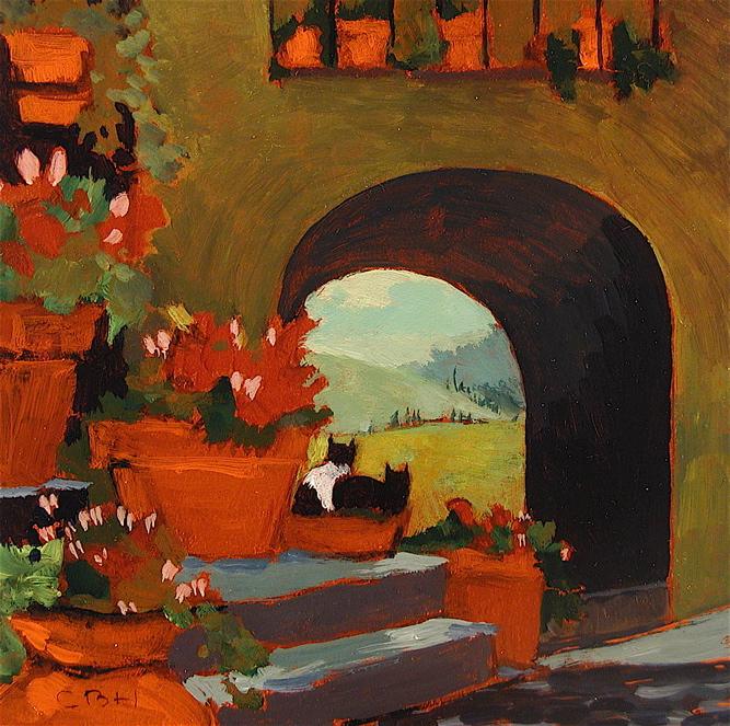 Italy, Kitties in Flower Pot
