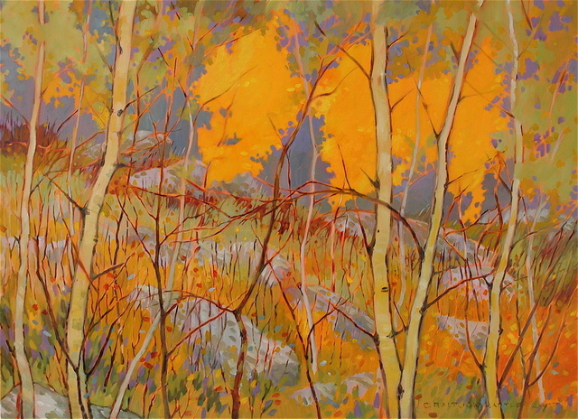 Golden Aspen, Purple Sky