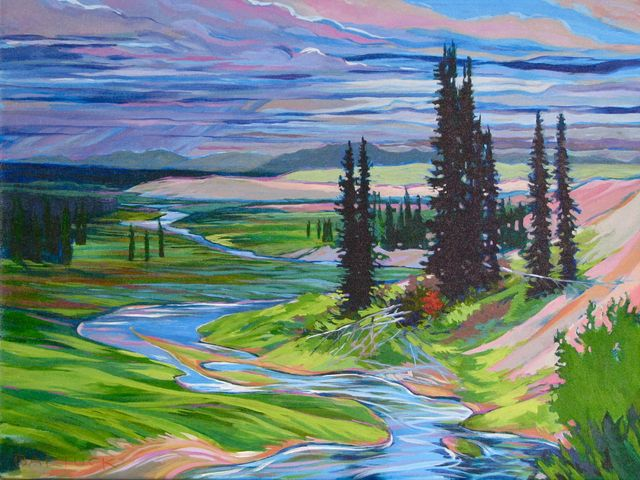 "Grayling Stream, 18"" x 24"", Acrylic on Canvas - NFS - DONATED TO KOBUK VALLEY NATIONAL PARK"
